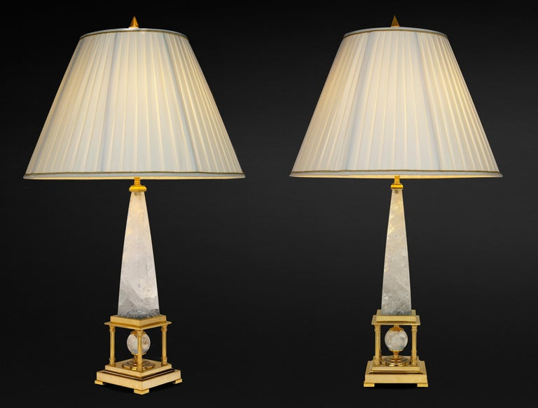 Contemporary Rock Crystal Lamps by Alexandre Vossion For Sale