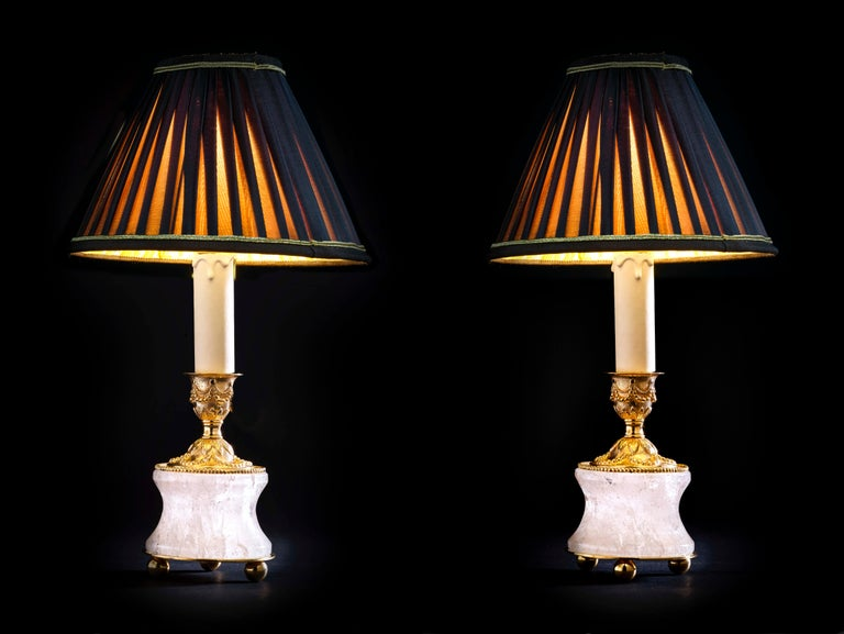 Gold Plate Rock Crystal Lamps by Alexandre Vossion For Sale