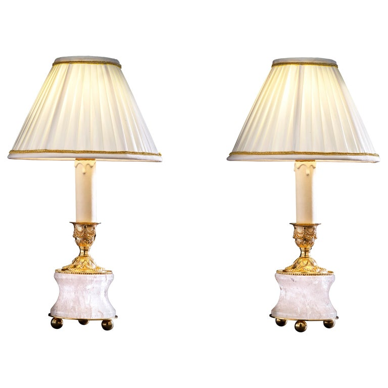 Rock Crystal Lamps by Alexandre Vossion For Sale