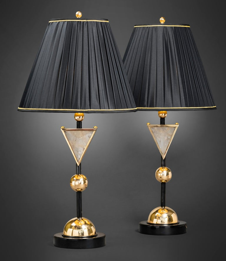 Original creation by Alexandre Vossion. Made in the same spirit than the Diadem Chandelier. Rock crystal stone, brass, black chrome, 24-karat gold (not polished brass),customized lampshades. This model could be made in your finition (silver