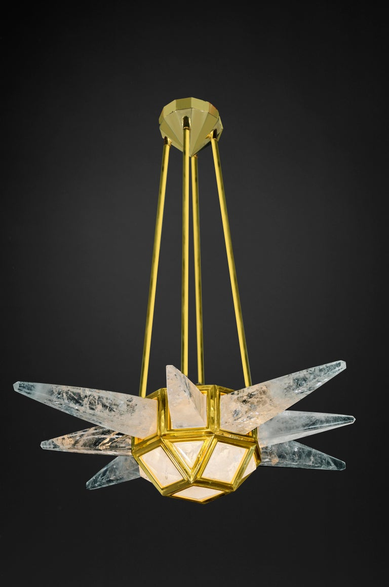 Rock crystal lighting modelStarburst by Alexandre Vossion. Fixture made in bronze in France. 24-karat gilding same used by a lot of French jewelry brands... Could be also made in different finition (nickel,antique brass, silver
