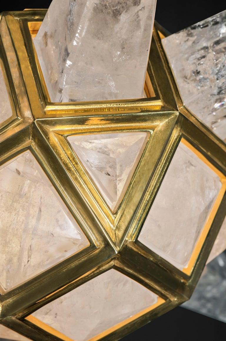 Gold Plate Rock Crystal Lighting Starburst Model by Alexandre Vossion For Sale
