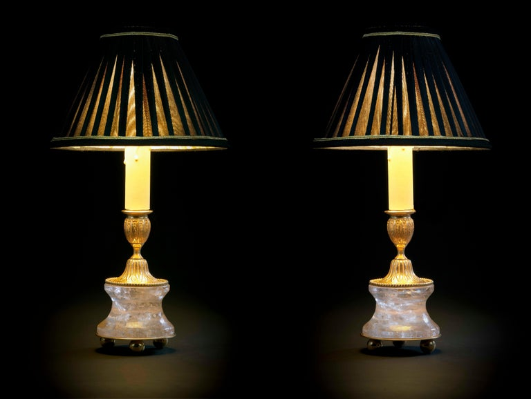Rock crystal Louis The XVI th Style 24-karat ormolu gilding bronze black shades made by Alexandre Vossion. This model can be also used as candlesticks to make your dining table so chic ... Others colors for the lampshades are also available and