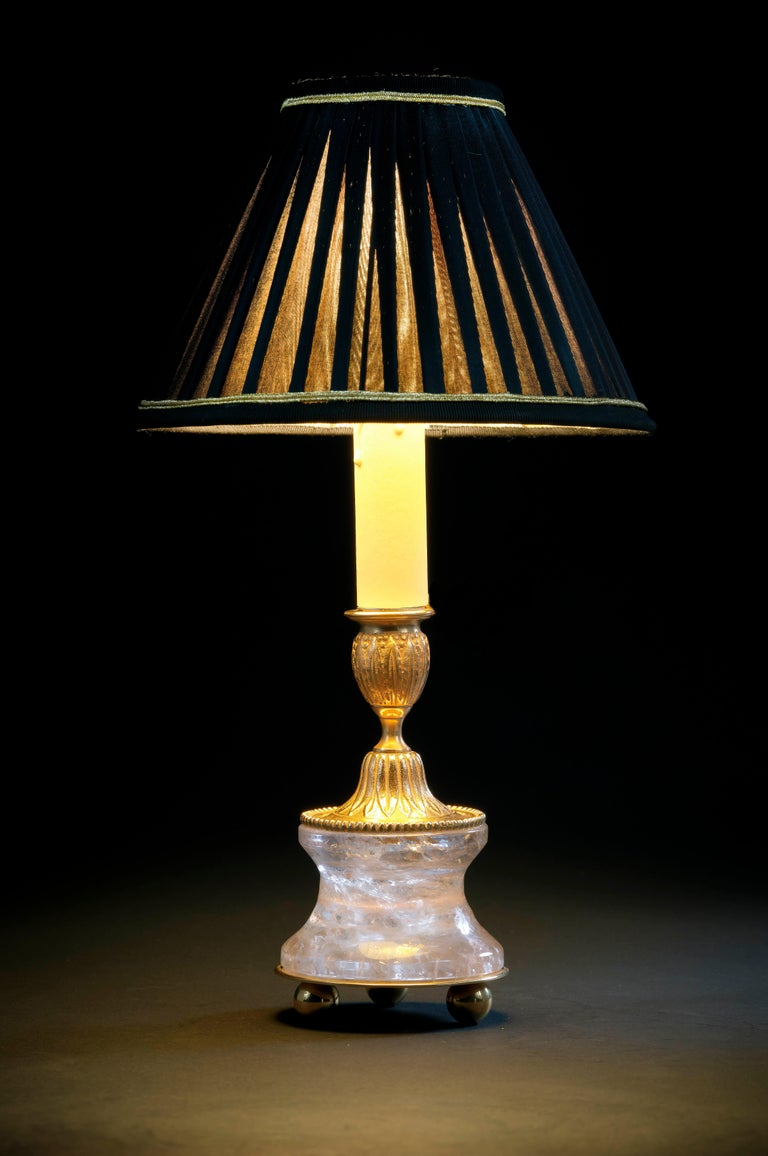 French Rock Crystal Louis The XVI th Style 24 K Ormolu Gilding Bronze Lamp Black Shades For Sale