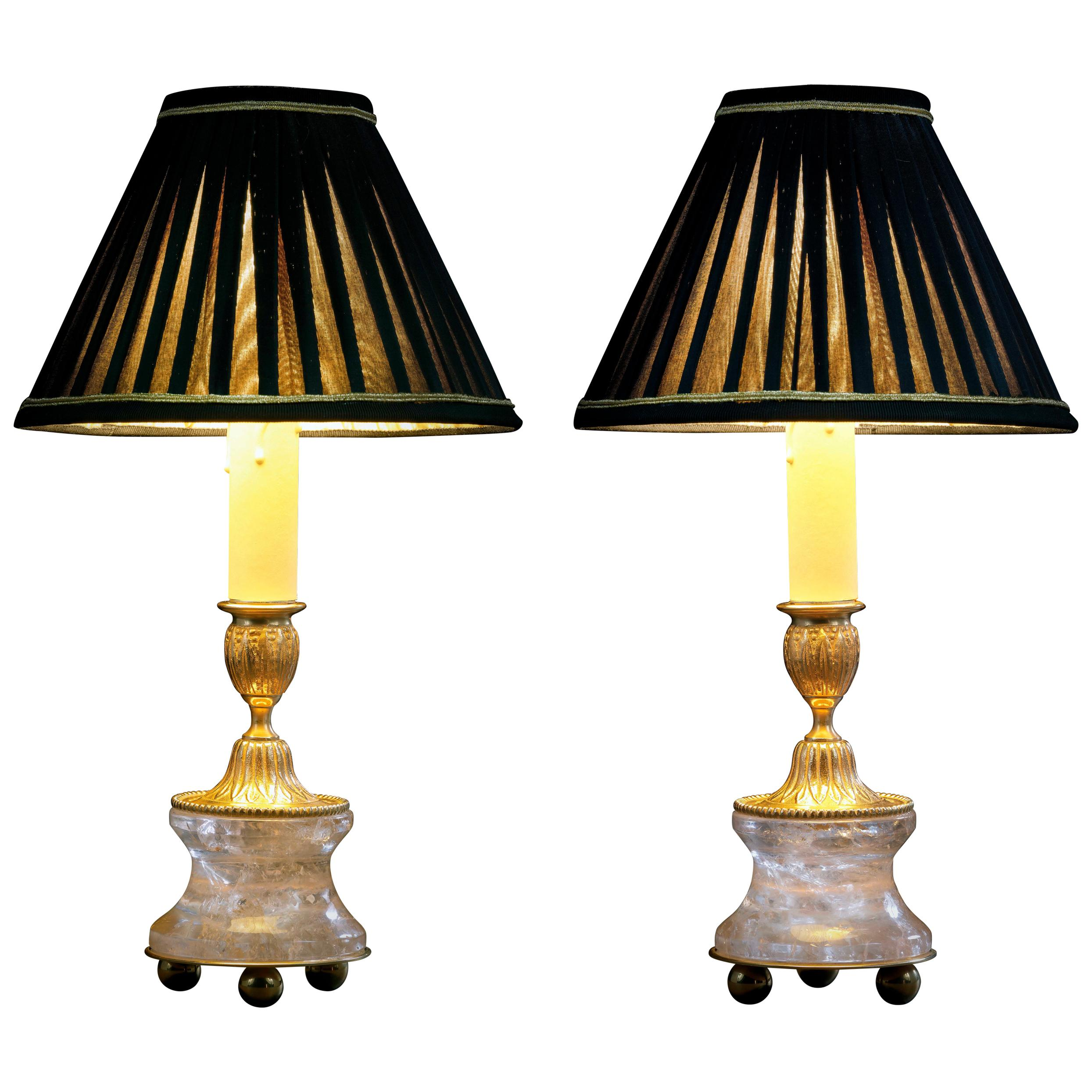 Rock Crystal Louis The XVI th Style 24 K Ormolu Gilding Bronze Lamp Black Shades