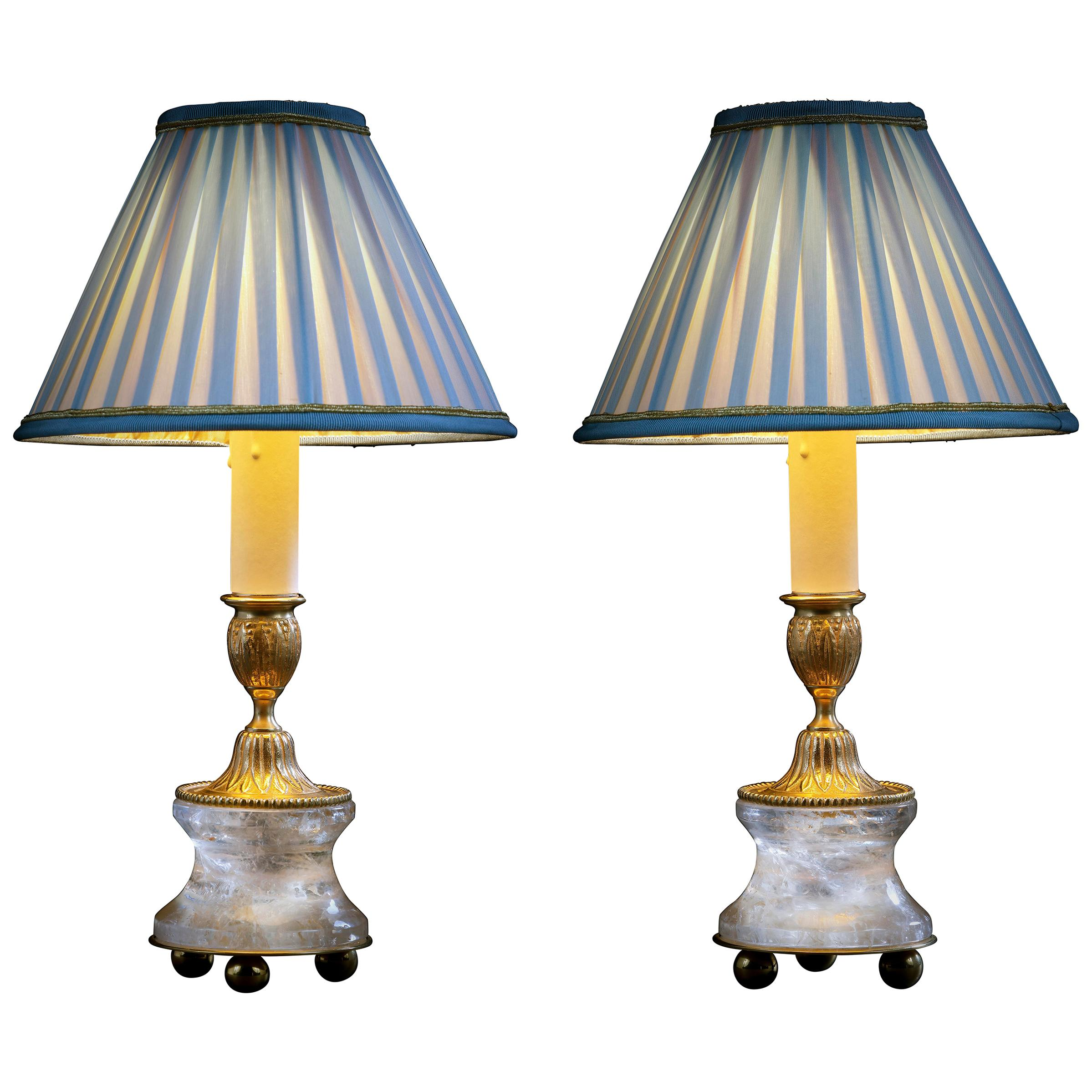Rock Crystal Louis the XVIth Style 24 K Ormolu Gilding Bronze Lamps Blue Shades