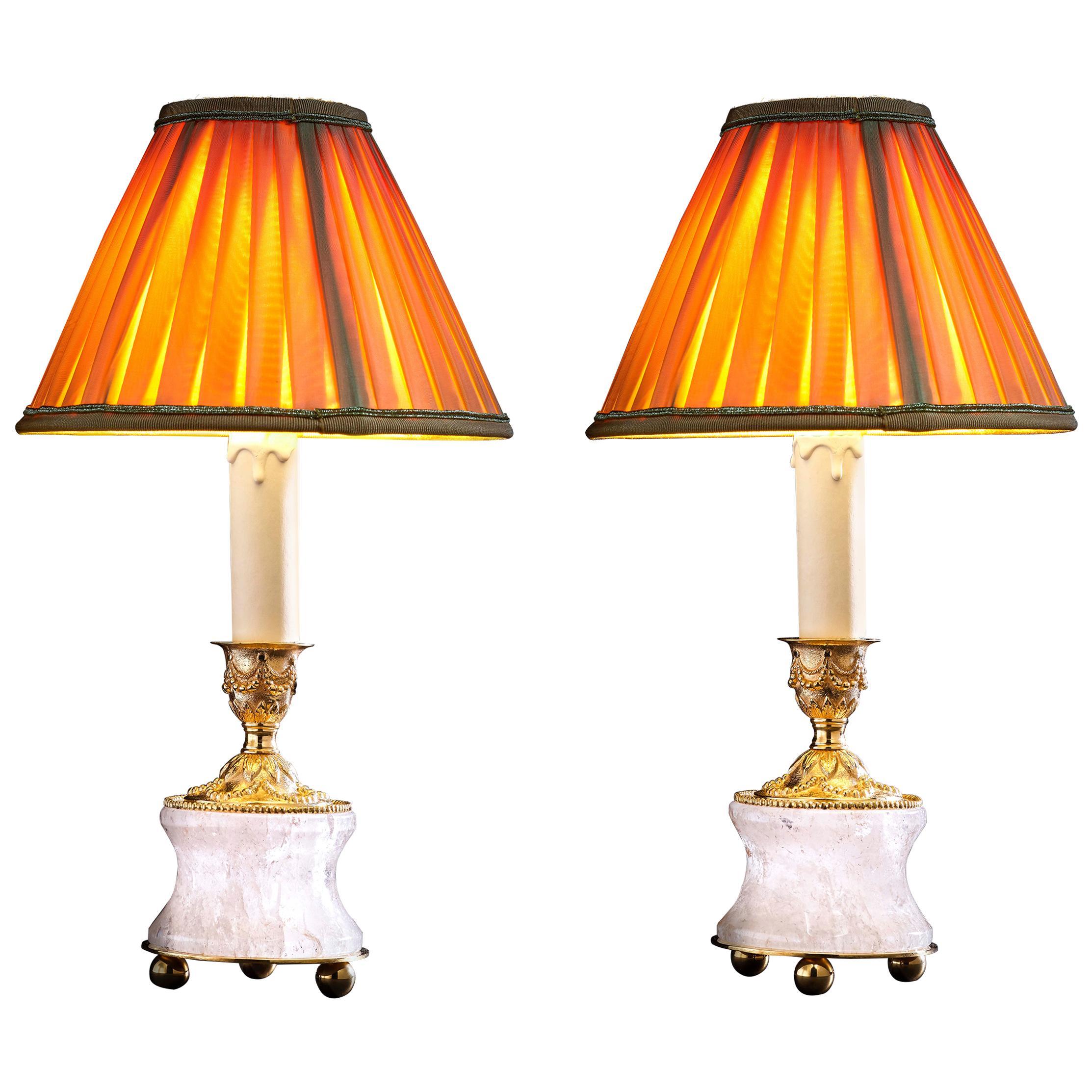 Rock Crystal Louis XVI Style 24-Karat Ormolu Gilding Bronze Lamps Gold Shades
