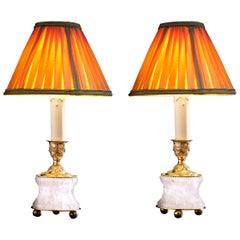 Rock Crystal Louis XVI Style 24-Karat Ormolu Gilding Bronze Lamps Gold Shades