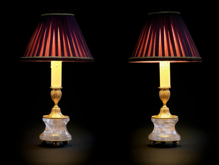 Rock Crystal Louis The XVI th style 24-karat Ormolu gilding bronze purple lampshades made by Alexandre Vossion. This model can be also used as candlesticks to make your dining table so chic ... Others colors for the lampshades are also available and