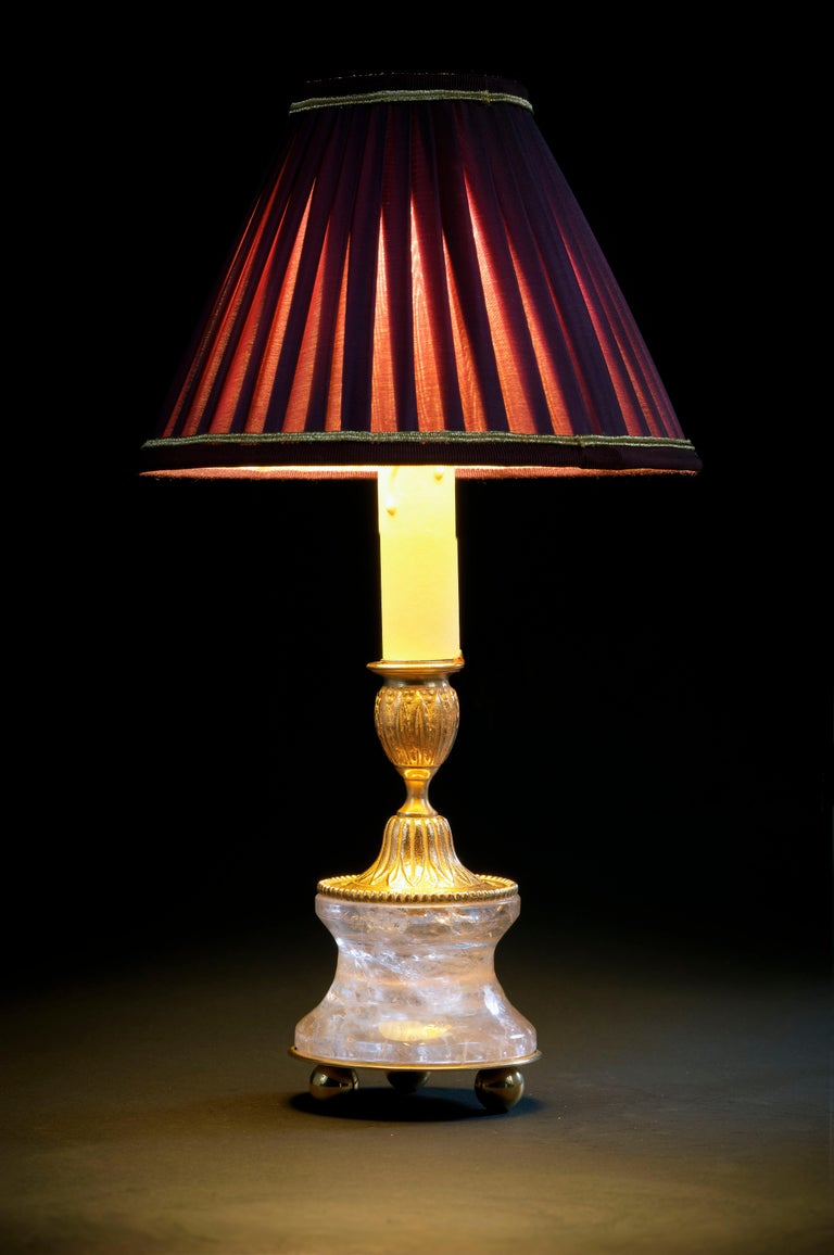 French Rock Crystal Louis The XVIth Style 24K Ormolu Gilding Bronze Lamp Purple Shades For Sale