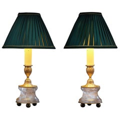 Rock Crystal Louis the XVIth Style 24-K Ormolu Gilding Bronze Lamps Green Shades
