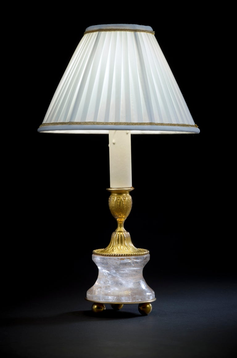 Louis XVI Rock Crystal Louis the XVI th Style 24K Ormolu Gilding Bronze Lamps White Shades For Sale