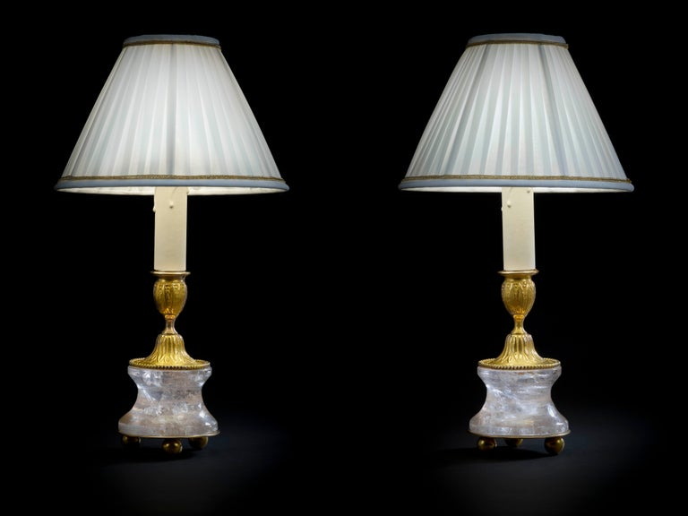 French Rock Crystal Louis the XVI th Style 24K Ormolu Gilding Bronze Lamps White Shades For Sale