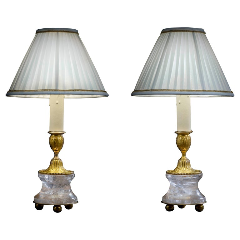 Rock Crystal Louis the XVI th Style 24K Ormolu Gilding Bronze Lamps White Shades For Sale