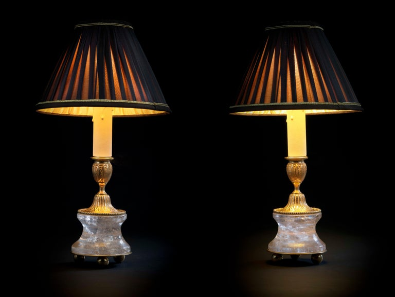 Rock crystal Louis the XVI th style 24-karat ormolu gilding bronze chocolate brown shades made by Alexandre Vossion. This model can be also used as candlesticks to make your dining table so chic. Others colors for the lampshades are also available