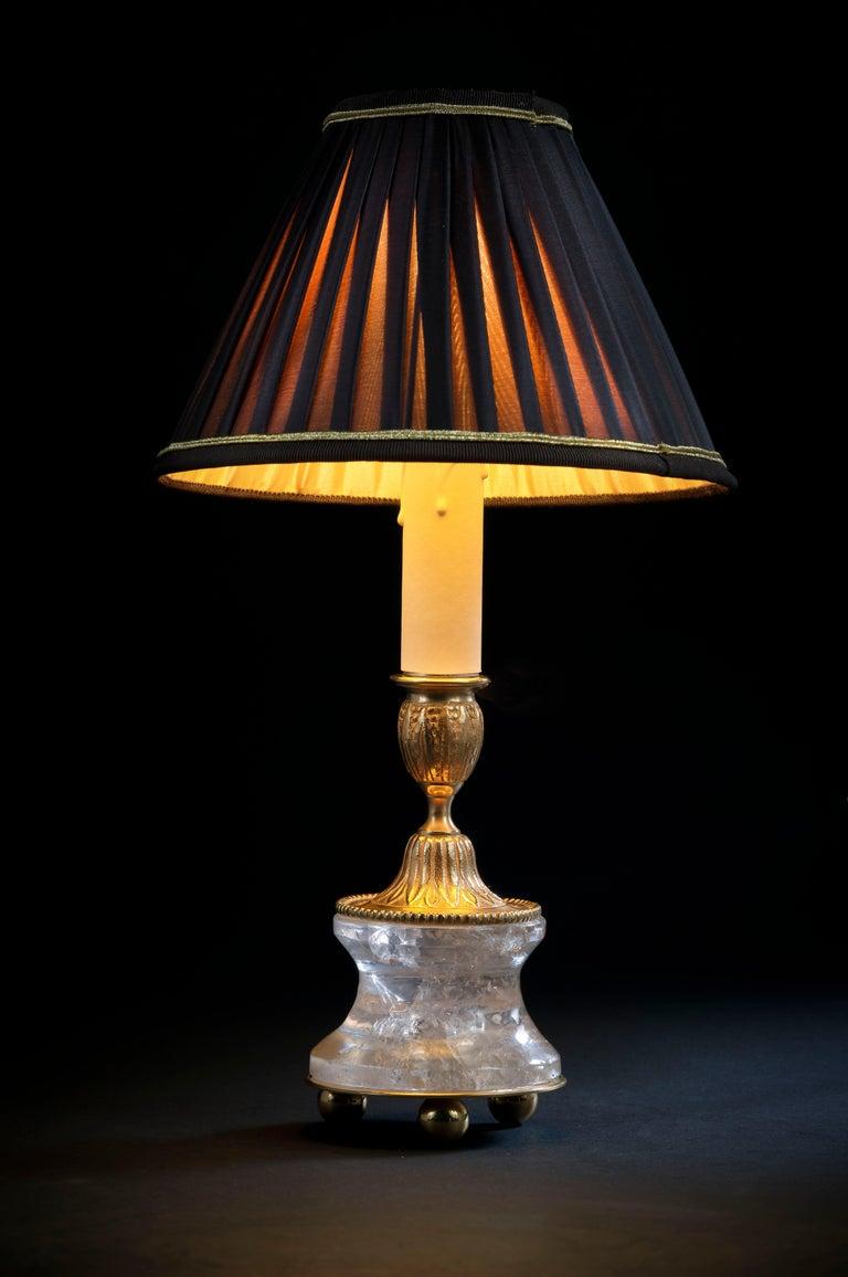 Louis XVI Rock Crystal Louis The XVI th Style 24-Karat Ormolu Gilding Bronze Lamps For Sale