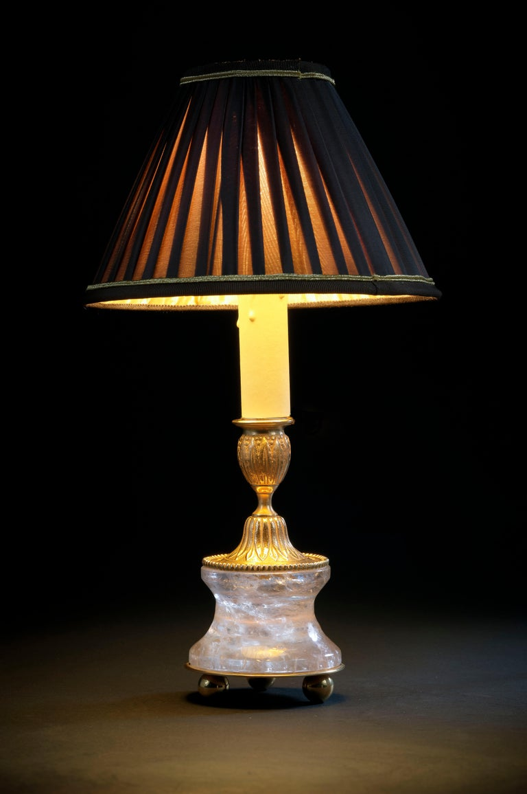 French Rock Crystal Louis The XVI th Style 24-Karat Ormolu Gilding Bronze Lamps For Sale