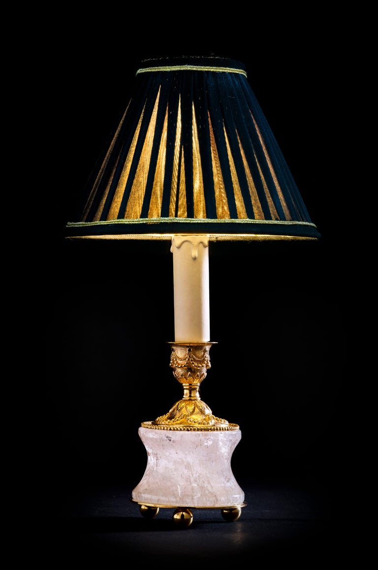 Rock Crystal Louis XVI Style 24-Karat Ormolu Gilding Bronze Lamps Black Shades In New Condition For Sale In SAINT-OUEN, FR