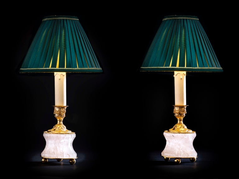 Rock crystal Louis the XVIth style 24-karat ormolu gilding bronze Empire green lampshades made by Alexandre Vossion. This model can be also used as candlesticks to make your dining table so chic. Model I of four different models. Handmade in