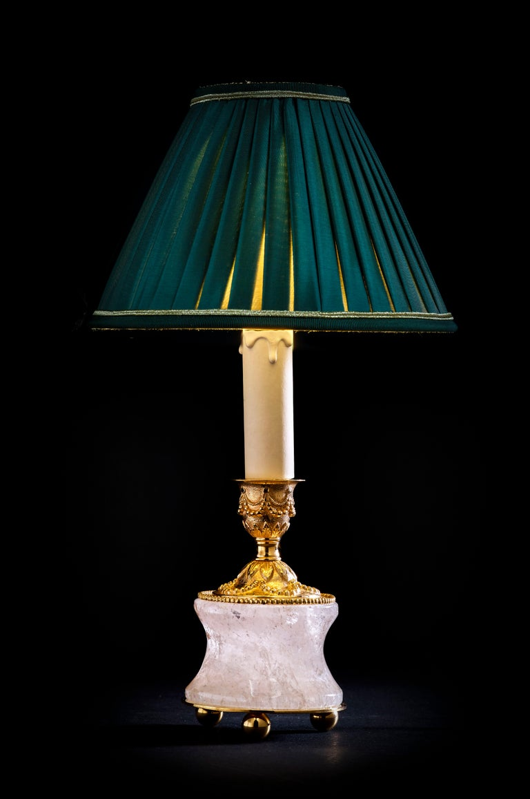 Louis XVI Rock Crystal Louis the Xvith Style 24k Ormolu Gilding Bronze Lamps Green Shades For Sale