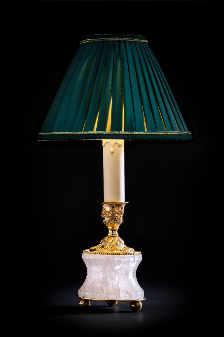 French Rock Crystal Louis the Xvith Style 24k Ormolu Gilding Bronze Lamps Green Shades For Sale