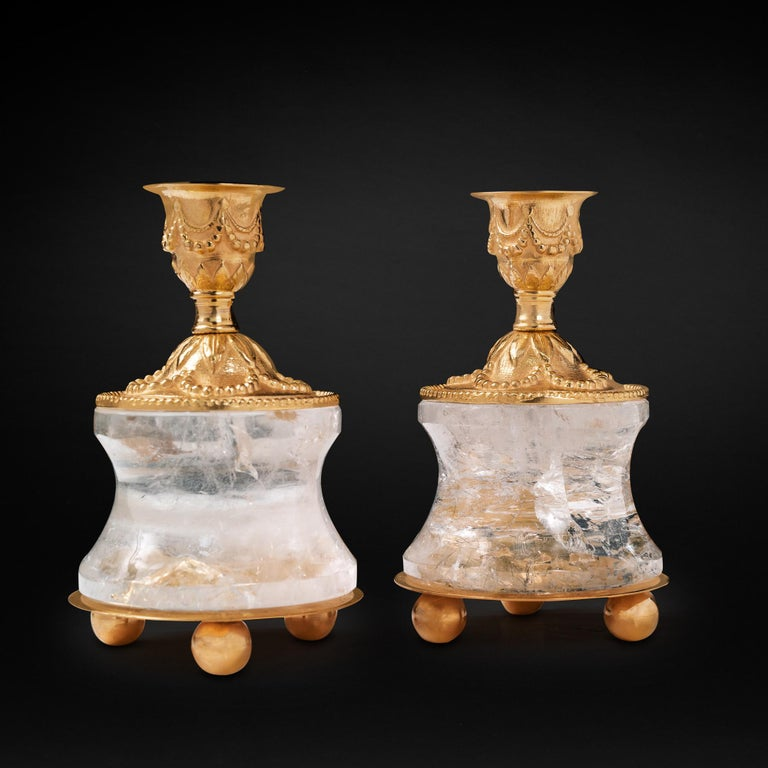 Contemporary Rock Crystal Louis the Xvith Style 24k Ormolu Gilding Bronze Lamps Green Shades For Sale