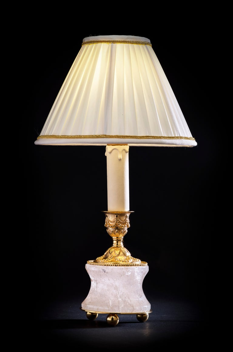 French Rock Crystal Louis XVI Style 24-Karat Ormolu Gilding Bronze Lamps Ivory Shades For Sale