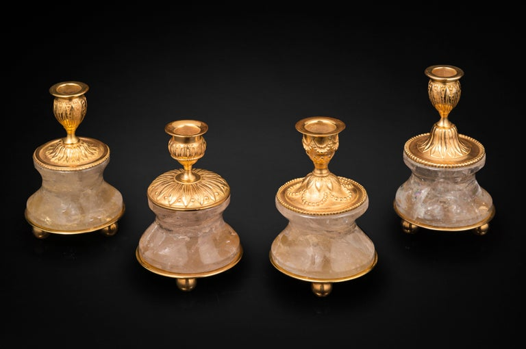 Rock Crystal Louis XVI Style 24-Karat Ormolu Gilding Bronze Lamps Ivory Shades For Sale 1