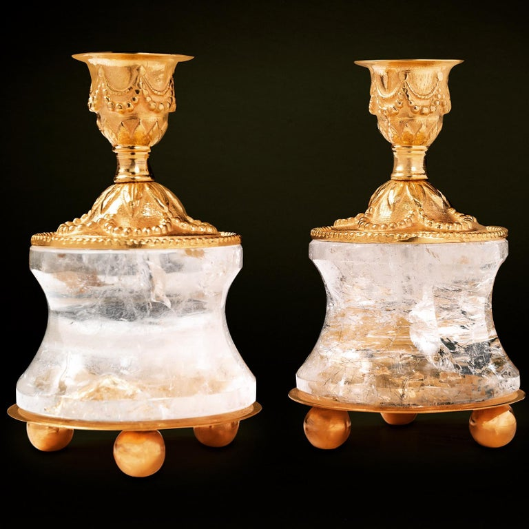 Rock Crystal Louis XVI Style 24-Karat Ormolu Gilding Bronze Lamps Ivory Shades For Sale 2
