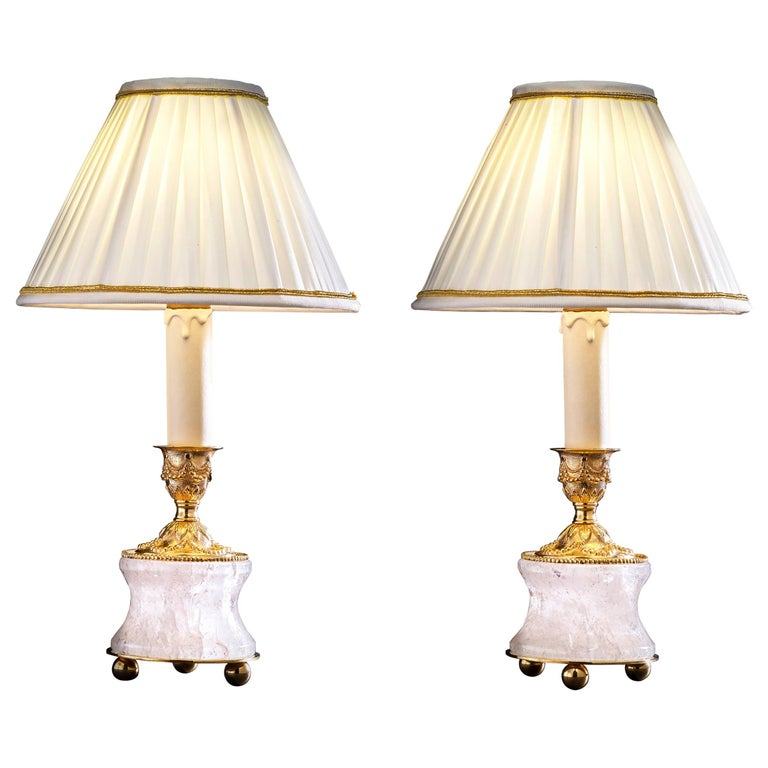 Rock Crystal Louis XVI Style 24-Karat Ormolu Gilding Bronze Lamps Ivory Shades For Sale