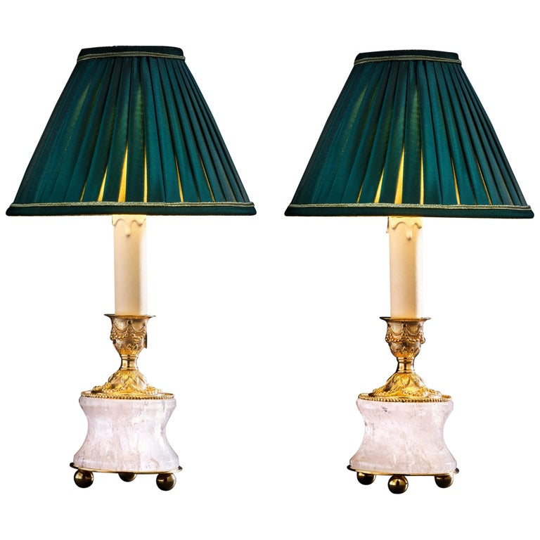 Rock Crystal Louis the Xvith Style 24k Ormolu Gilding Bronze Lamps Green Shades For Sale