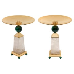 Rock Crystal, Malachite, 24 K Gold Plated Pair of Centerpieces