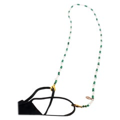 Rock Crystal Malachite Beaded String Lanyard Handmade Face Mask Holder Necklace