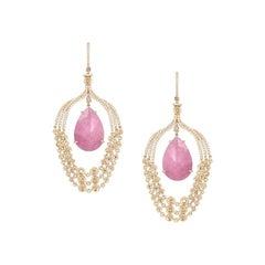 Rock Crystal / Nacre / Tourmaline Diamond Yellow Gold Drop Earrings