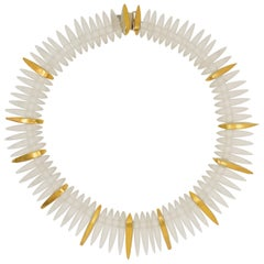 Rock Crystal Necklace with 22 Karat Yellow Gold and Silver