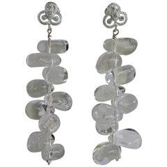 Rock Crystal Nuggets 925 Sterling Silver Cubic Zirconia Post Earrings