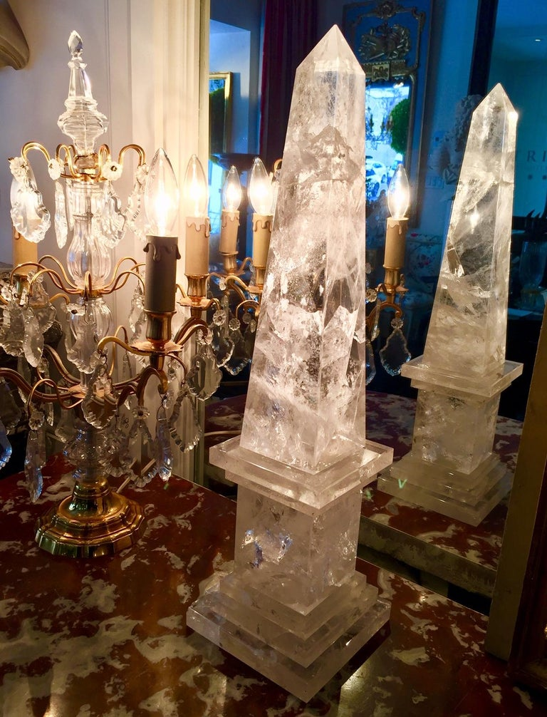 Neoclassical Rock Crystal Obelisks, Pair, French  For Sale