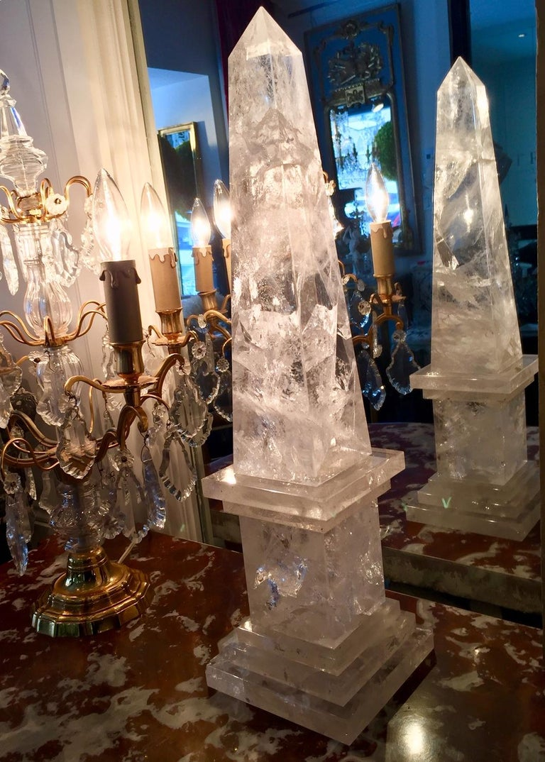 Rock Crystal Obelisks, Pair, French  In Excellent Condition For Sale In Montreal, Quebec