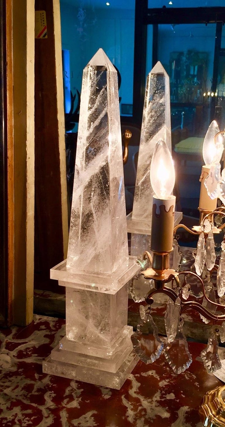 20th Century Rock Crystal Obelisks, Pair, French  For Sale
