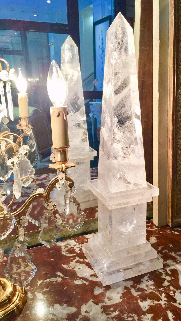 Rock Crystal Obelisks, Pair, French  For Sale 1