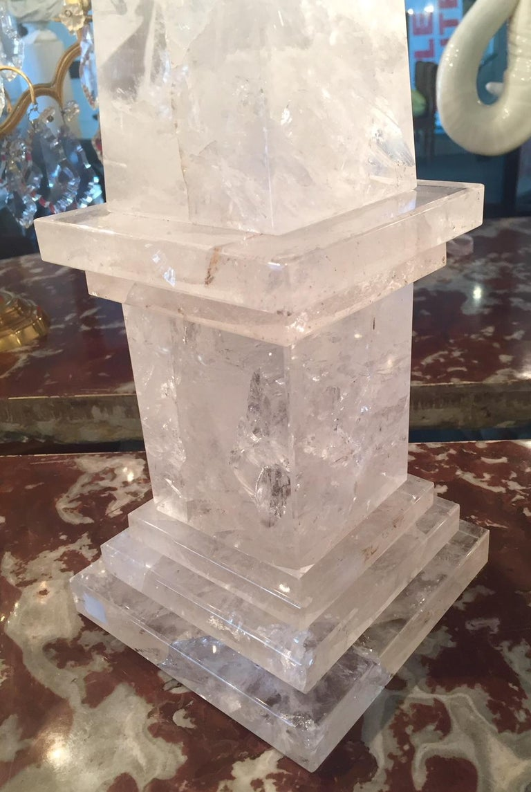 Rock Crystal Obelisks, Pair, French  For Sale 3