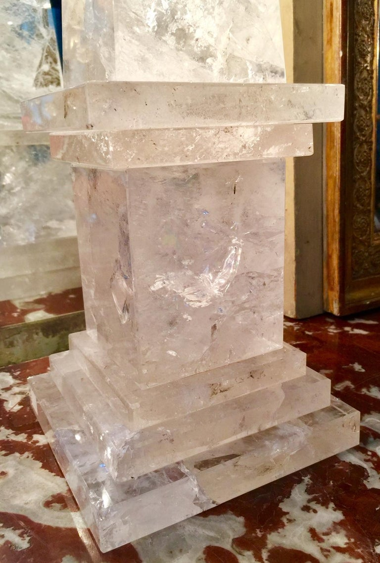 Rock Crystal Obelisks, Pair, French  For Sale 4