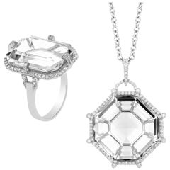 Goshwara Octagon Rock Crystal With Diamond Pendant And Ring
