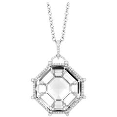 Rock Crystal Octagon Pendant with Diamonds