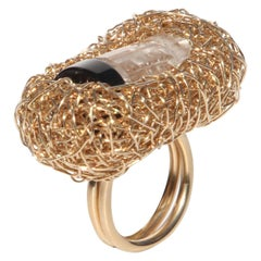 Rock Crystal Onyx 14 Krt Yellow Gold Filled Woven Cocktail Ring by the Artist