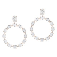 Rock Crystal Oval Hoop Earrings with Diamonds