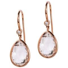 Rock Crystal Pear Shape Earrings with Diamond