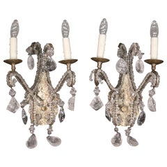 Rock Crystal Pendant Bagues Style French Louis XV Sconces