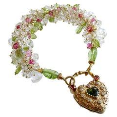 Rock Crystal Peridot Topaz Cluster Bracelet Padlock Heart, Posey Bracelet
