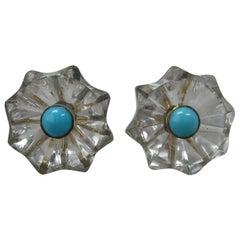Rock Crystal Persian Turquoise Earrings 14 Karat Gold Art Deco Antique